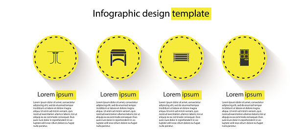 Set Round table, Chair, Chest of drawers and Closed door. Business infographic template. Vector