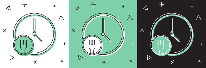Set Round the clock delivery icon isolated on white and green, black background. Vector Illustration