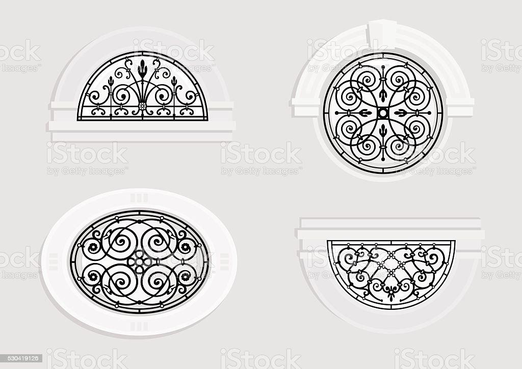 Runde Fenster satz runde fenster mit schmiedeeisernen stock vektor und mehr