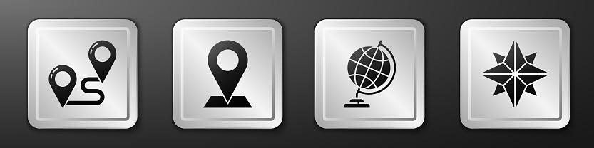 Set Route location, Location, Earth globe and Wind rose icon. Silver square button. Vector