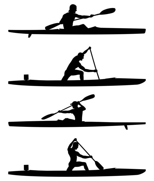 set rowers kayak and canoe - kayaking stock illustrations, clip art, cartoons, & icons