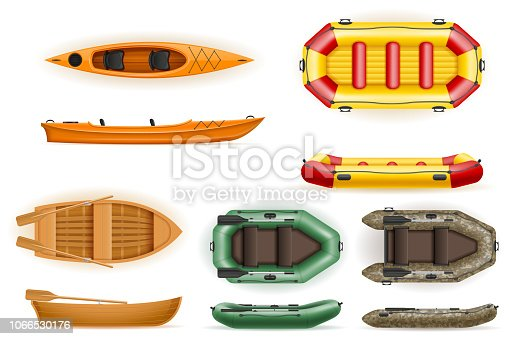set rowing boats made of plastic wooden and inflatable vector illustration isolated on white background
