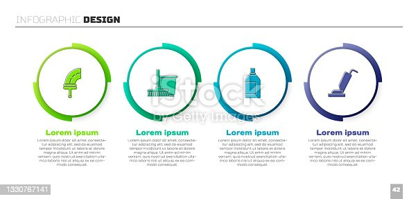 istock Set Rubber cleaner for windows, Mop and bucket, Bottle cleaning agent and Vacuum. Business infographic template. Vector 1330767141
