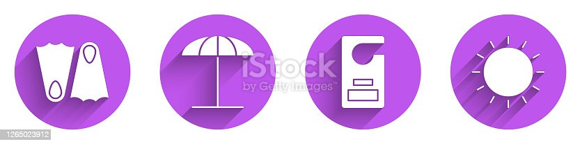 istock Set Rubber flippers, Sun protective umbrella for beach, Please do not disturb and Sun icon with long shadow. Vector 1265023912