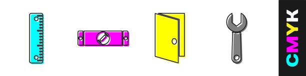 bildbanksillustrationer, clip art samt tecknat material och ikoner med ställ linjal, konstruktion bubbla nivå, stängd dörr och skiftnyckel nyckel ikon. vektor - working from home