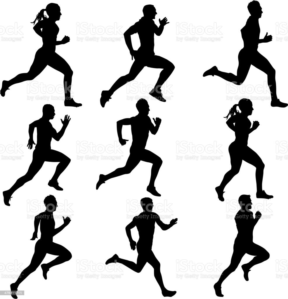 Set running silhouettes. vector art illustration