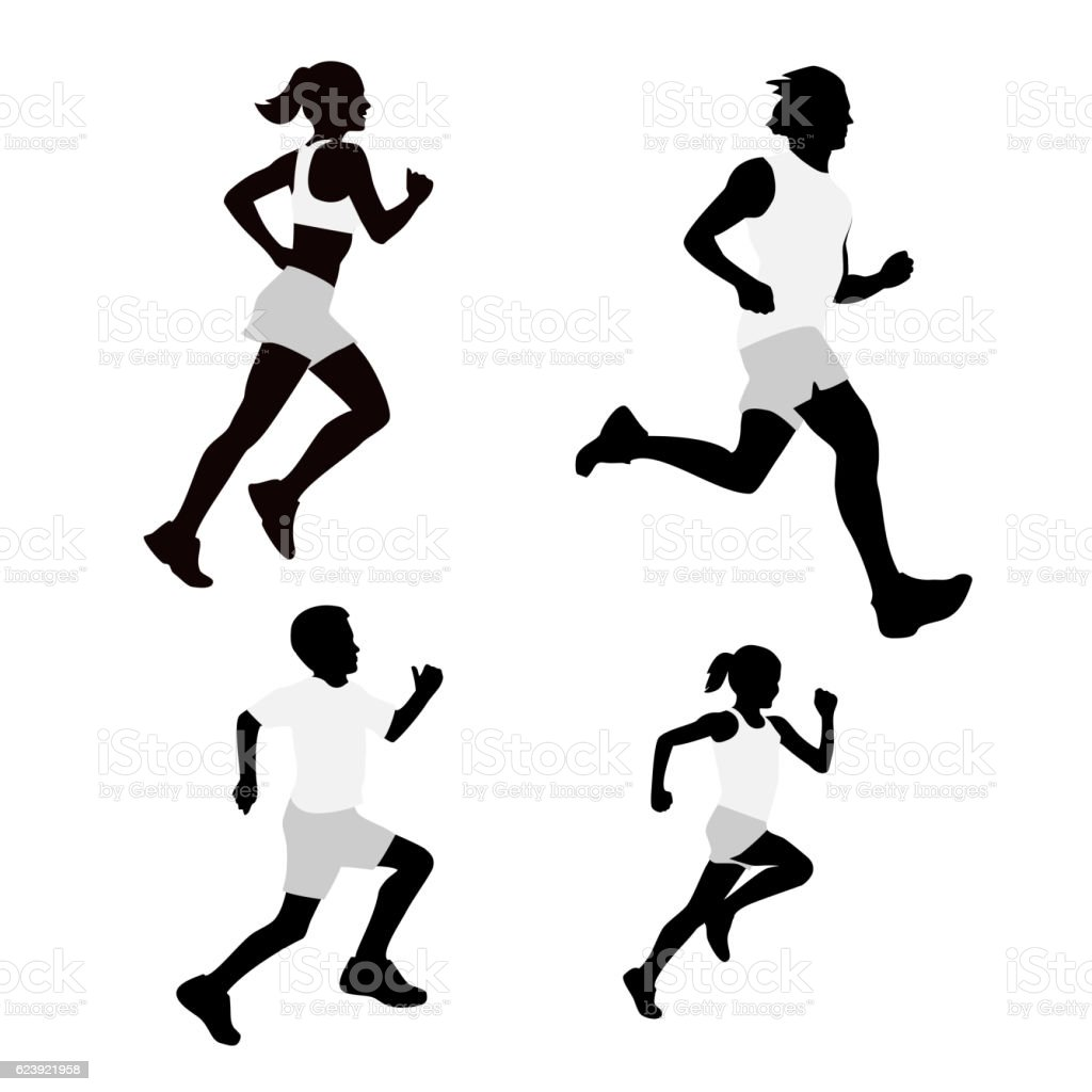 Set running silhouettes. Vector illustration. vector art illustration