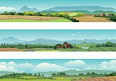 Vector Illustration of 3 beautiful rural landscape scenes.