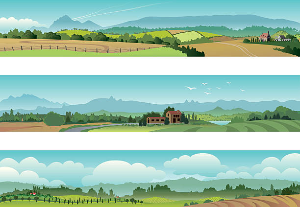 set rural scene landscape - kırsal manzara stock illustrations