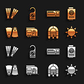 istock Set Rv Camping trailer, Passport with ticket, Sun, Rafting boat, Rubber flippers, Travel, and Please do not disturb icon. Vector 1337808352