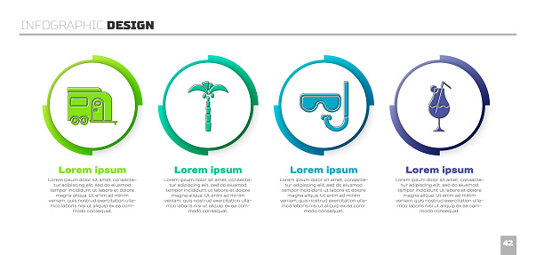 Set Rv Camping trailer, Tropical palm tree, Diving mask and snorkel and Cocktail and alcohol drink. Business infographic template. Vector