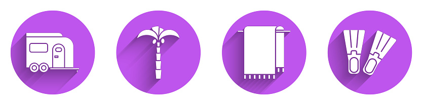 Set Rv Camping trailer, Tropical palm tree, Towel on a hanger and Rubber flippers icon with long shadow. Vector