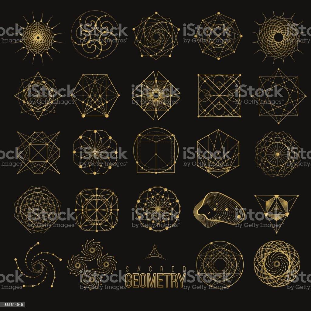 Definir formas de geometria sagrada - ilustração de arte em vetor
