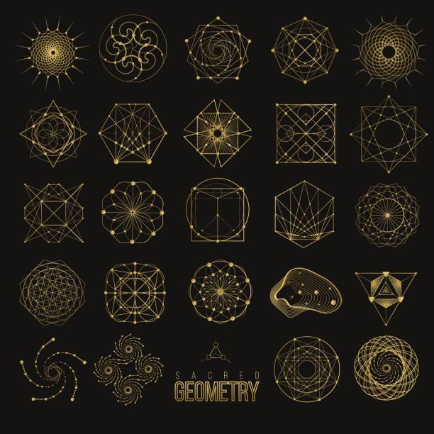 Set Sacred geometry forms vector art illustration