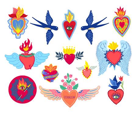 Set Sacred Heart of Jesus print old school tattoo style.