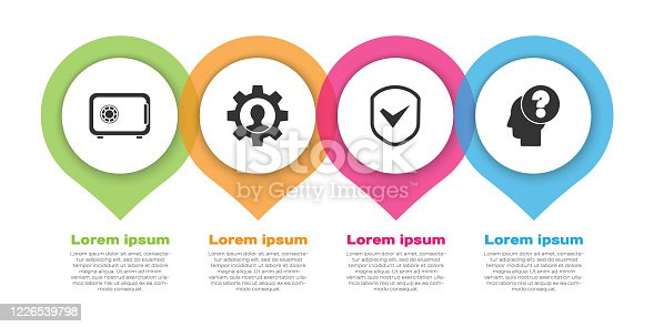 istock Set Safe, Human with gear inside, Shield with check mark and Human head with question mark. Business infographic template. Vector 1226539798