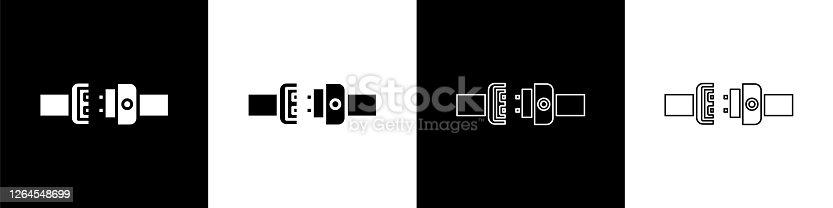 istock Set Safety belt icon isolated on black and white background. Seat belt. Vector Illustration 1264548699