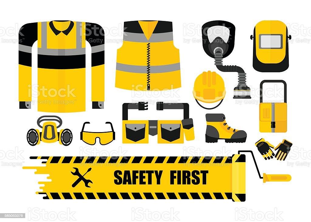 set safety first vector art illustration