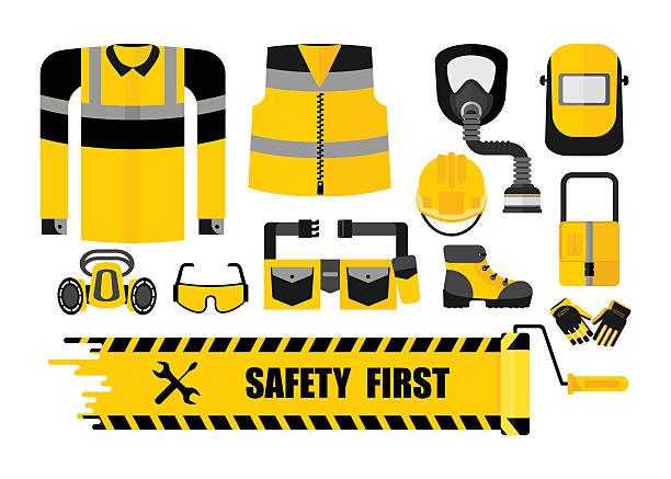 ilustraciones, imágenes clip art, dibujos animados e iconos de stock de set safety first - equipo de seguridad