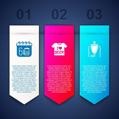 Set Saint Patricks day calendar, Beer T-shirt and brewing process. Business infographic template. Vector