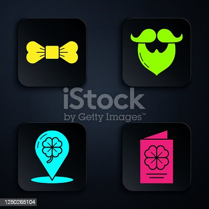 Set Saint Patricks Day flyer, brochure, postcard, Bow tie, Location and four leaf clover and Mustache and beard. Black square button. Vector