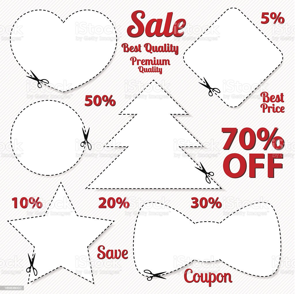 set sale coupons labels template blank frame scissors stock vector