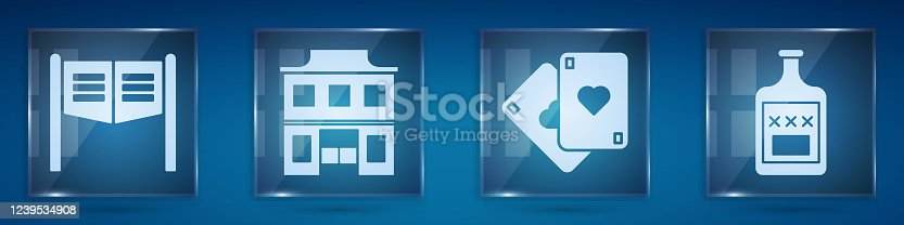 Set Saloon door, Wild west saloon, Playing cards and Whiskey bottle. Square glass panels. Vector