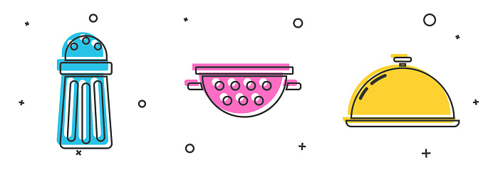 Set Salt , Kitchen colander and Covered with a tray of food icon. Vector