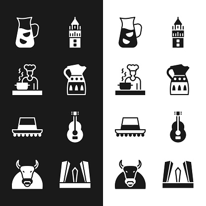 Set Sangria pitcher, Spanish cook, Giralda, hat, guitar, Gate of Europe and Bull icon. Vector