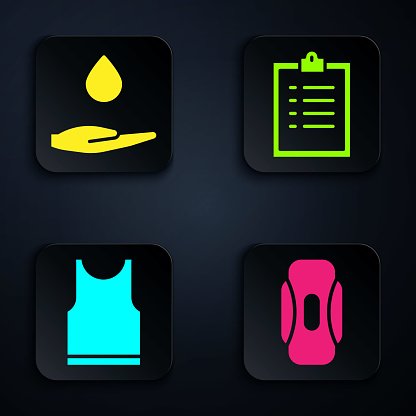 Set Sanitary napkin, Washing hands with soap, Sleeveless T-shirt and Clipboard with checklist. Black square button. Vector