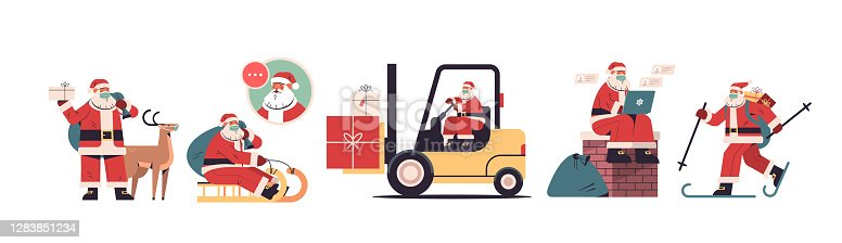 set santa claus delivering gifts merry christmas happy new year holidays celebration concept