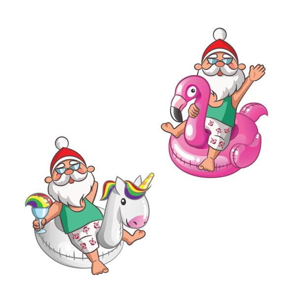 set santa claus with unicorn and flamingo inflatable floats - isolated on white background - old man sunglasses stock illustrations, clip art, cartoons, & icons