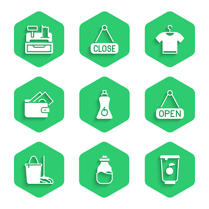 Set Sauce bottle, Spice in can, Yogurt container, Hanging sign with Open, Mop and bucket, Wallet money, T-shirt and Cash register machine icon. Vector