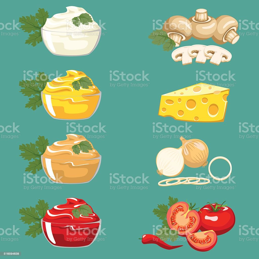 Set sauces for meat dishes and fast food vector art illustration