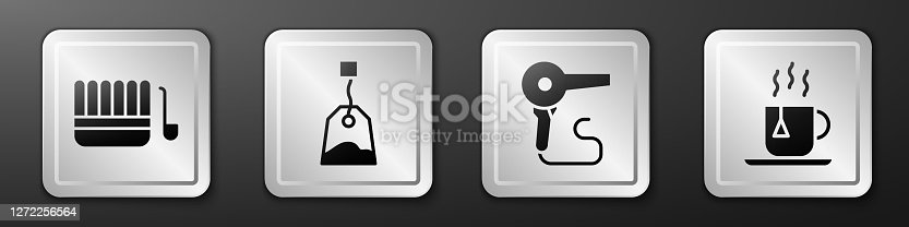 istock Set Sauna bucket and ladle, Tea bag, Hair dryer and Cup of tea with tea bag icon. Silver square button. Vector 1272256564