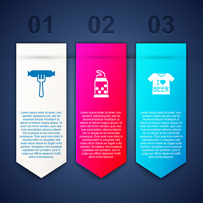 Set Sausage on the fork, Bottle opener and Beer T-shirt. Business infographic template. Vector