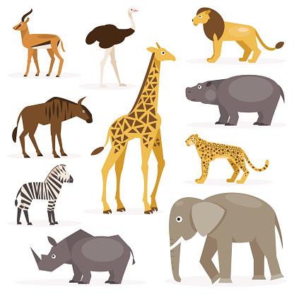 Set savanna animals. Vector Illustration