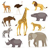 Set savanna animals. Vector Illustration