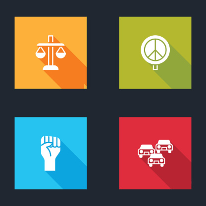 Set Scales of justice, Peace, Raised hand with clenched fist and Traffic jam icon. Vector