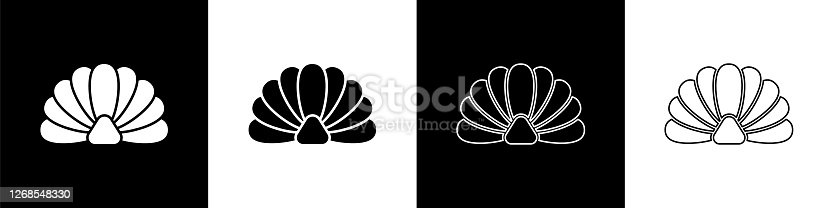 istock Set Scallop sea shell icon isolated on black and white background. Seashell sign. Vector Illustration 1268548330