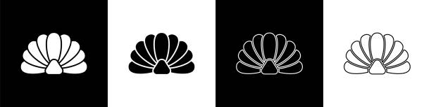 Set Scallop sea shell icon isolated on black and white background. Seashell sign. Vector Illustration Set Scallop sea shell icon isolated on black and white background. Seashell sign. Vector Illustration wildlife stock illustrations