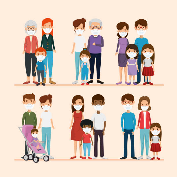 set scenes of families using face mask vector art illustration