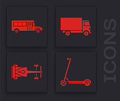 Set Scooter, School Bus, Delivery cargo truck vehicle and Formula race car icon. Vector