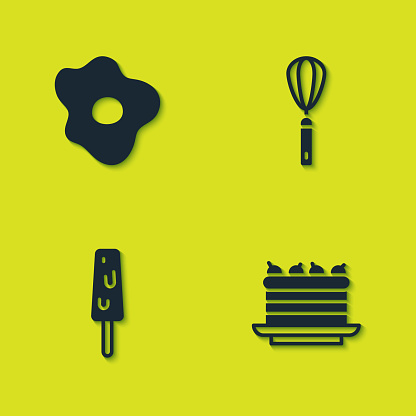 Set Scrambled eggs, Cake, Ice cream and Kitchen whisk icon. Vector