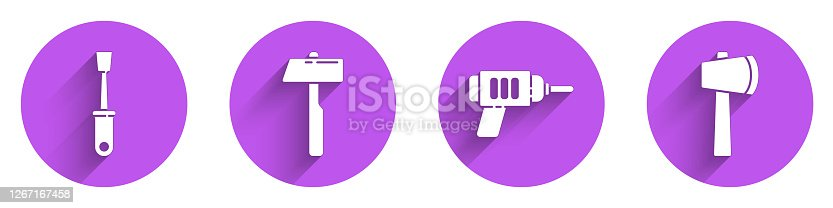 Set Screwdriver, Hammer, Electric drill machine and Wooden axe icon with long shadow. Vector