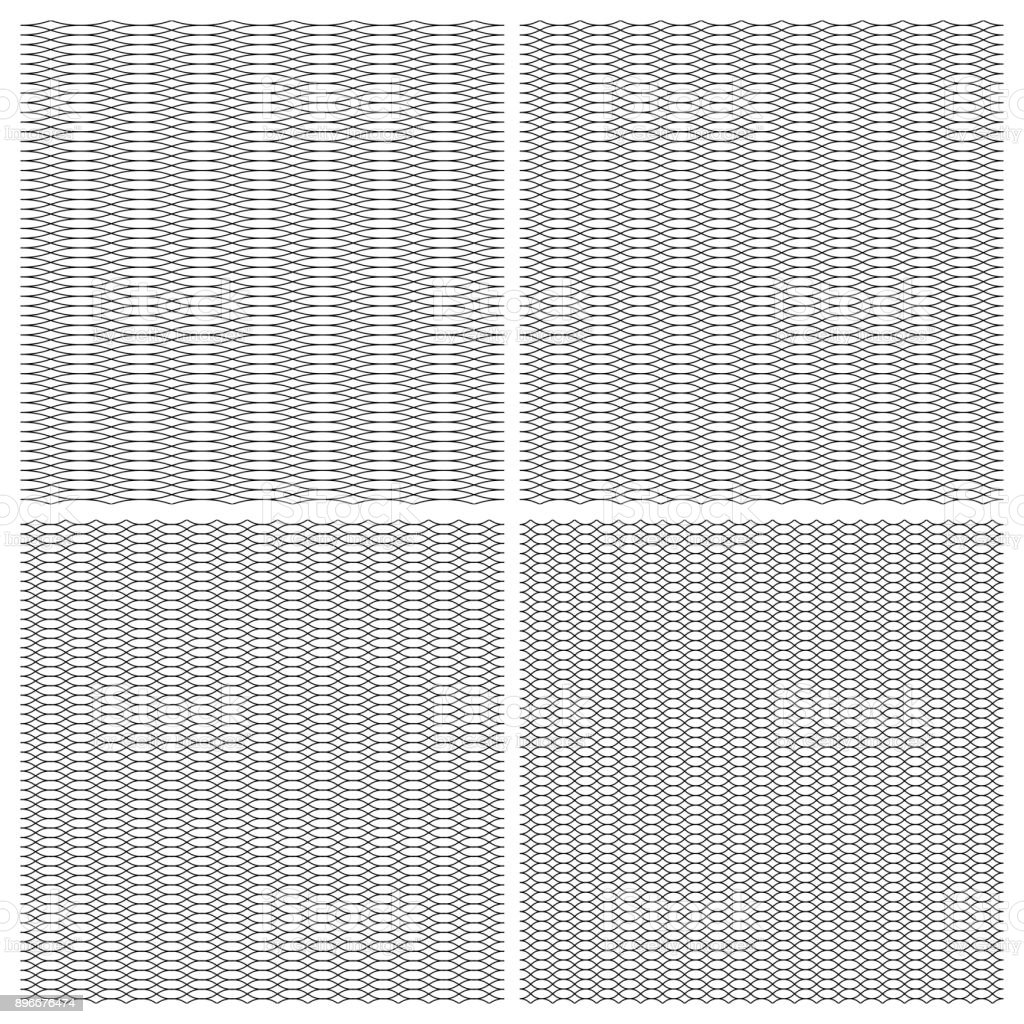 Set seamless pattern guilloche ornament in the form of a dense grid of wavy curly lines, intertwined, the vector for the protection against forgery valuable documents vector art illustration