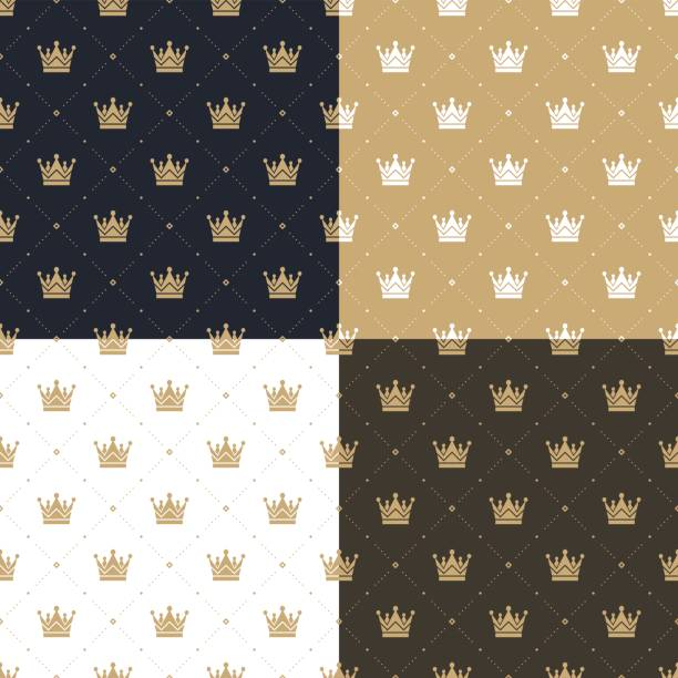 Set seamless pattern in retro style with a white and gold crown on a blue, gold, white and brown background. Can be used for wallpaper, pattern fills, web page background,surface textures. Vector Illustration. vector art illustration