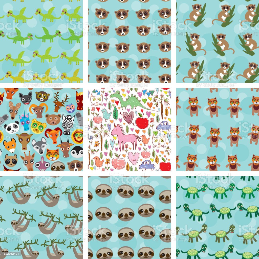 Set seamless pattern with funny animals on  blue background. vector vector art illustration