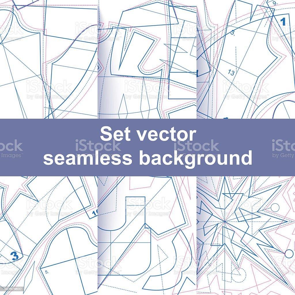 Set seamless sewing pattern texture vector art illustration