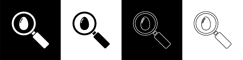 Set Search and easter egg icon isolated on black and white background. Happy Easter. Vector Illustration